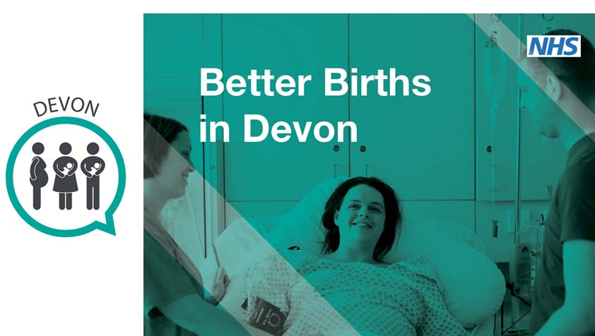Devon MVP logo and better births image (mum in maternity bed)