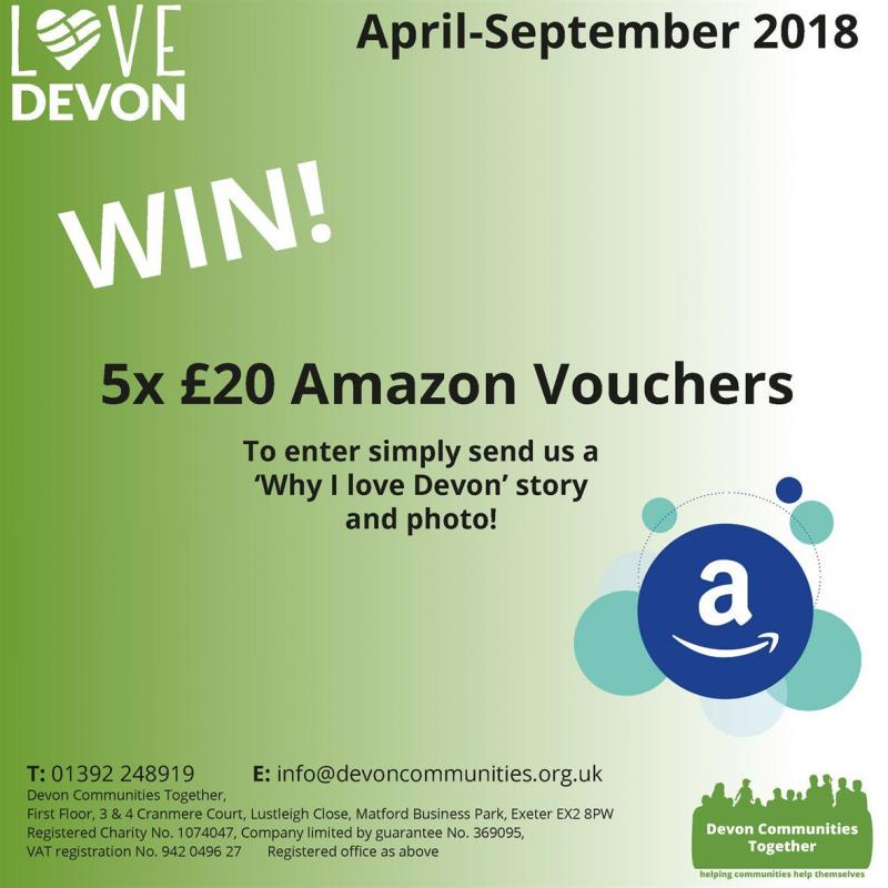 5x £20 Amazon Vouchers. To enter simply send us a 'Why I love Devon' story and photo!