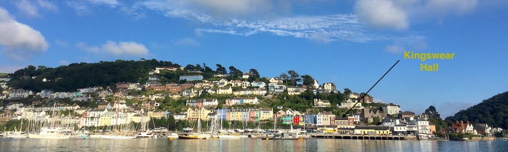 View of Kingswear from Dartmouth showing the location of the hall
