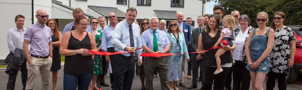 Ribbon cutting the new affordable rural housing at south tawton