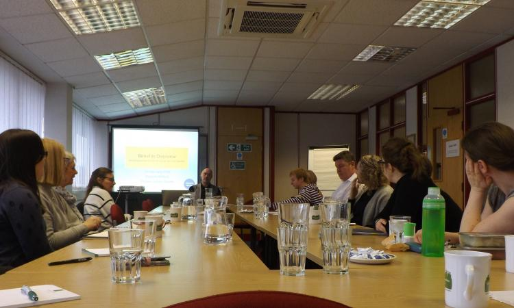 Vincent Willson of Citizens Advice Devon delivering benefits advice training at the Devon Community Learning Academy