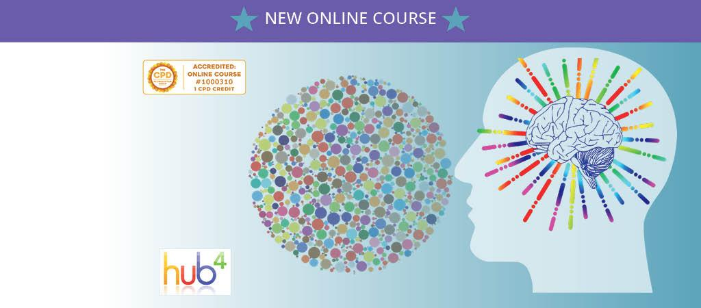Mental Health Awareness Course, head silhouette with colourful brain graphic