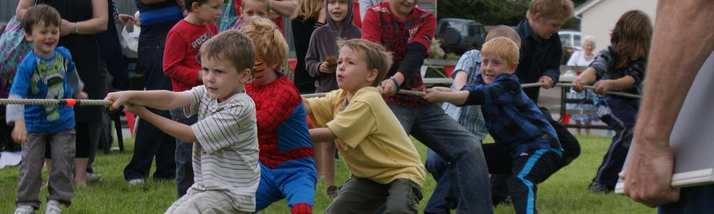 Children competing at tug-of-war
